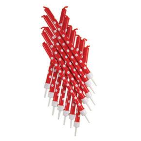 Κόκκινα κεράκια με λευκά πουα